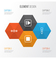 multimedia icons set collection of stop button vector image