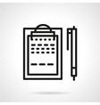 Black line clipboard with pen icon vector image