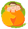 Happy family dad with daughters vector image