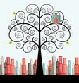 Owl on Curled Tree with City on Background Flat vector image