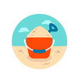 Sand Bucket and Shovel icon Summer Vacation vector image