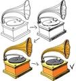 Vintage gramophone sketching progress vector image