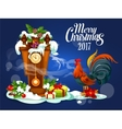 Merry Christmas card with rooster and gift box vector image
