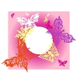postcard with flying butterflies on pink vector image vector image