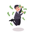 happy businessman character jumping under money vector image