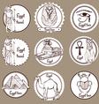 Sketch set of Egypt labels vector image