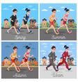 City Marathon Runners Man and Woman Running vector image