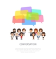 Conversation with Colorful Speech Bubbles vector image