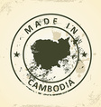 Stamp with map of Cambodia vector image
