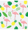 flamingos pink palms vector image