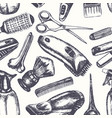 barber equipment - hand drawn seamless pattern vector image