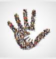 large group of people in form of helping hand icon vector image