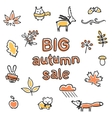 Big autumn sale poster animals and plants vector image
