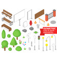 Isometric city and park elements set vector image