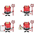 Red Devil Boss With A Trident Collection vector image