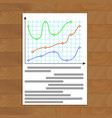 document with color curve line graphic vector image