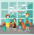 family travel concept poster parents with vector image