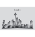 Seattle city skyline silhouette in grayscale vector image