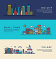 Big City Small Town and Village Flat Style Line vector image