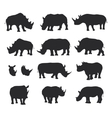 Black rhino silhouettes vector image