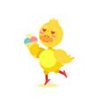 funny little yellow duckling enjoying ice cream vector image