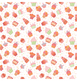 Hand drawn seamless pattern with cupcakes Birthday vector image