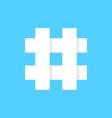 White hashtag icon on blue background vector image