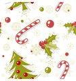 Seamless pattern with cute cartoon Christmas tree vector image