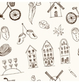 Doodle hand drawn seamless pattern Holland icons vector image