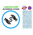 money insurance hands rounded icon with set vector image