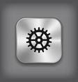 Gear icon - metal app button vector image