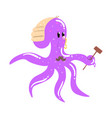 funny cartoon octopus judge with gavel colorful vector image