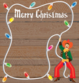 cowboy with christmas lights lasso vector image vector image