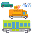 City transport set of colorful flat icons vector image