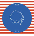 cloud thunderstorm lightning rain line icon vector image