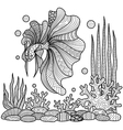 fighting fish coloring page vector image