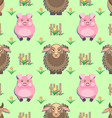 kids seamless pattern with animals from the farm vector image
