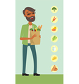 Young man holding a shopping bag vector image