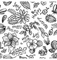 floral seamless pattern with butterfly and vector image