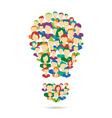 Flat Idea lamp symbolize crowdsourcing process vector image