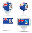 Map pins with flag of Falkland Islands vector image