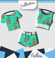 Design clothes with prints of pineapples vector image