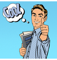 Happy Student Man Gesturing Great with Books vector image