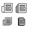black newspaper icons set vector image vector image