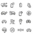 electric car linear icons set vector image