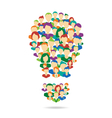 Flat Idea lamp symbolize crowdsourcing process vector image