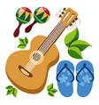 guitar maracas beach flip flops color of a summer vector image
