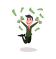 happy wealthy businessman character jumping under vector image