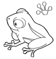 paw print with frog Coloring Page vector image