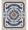 vintage nautical heritage typography vector image